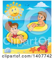 Clipart Of Children Foating On Inner Tubes In The Ocean Royalty Free Vector Illustration
