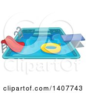 Clipart Of A Swimming Pool With A Ladder Slide Diving Board And Inner Tube Royalty Free Vector Illustration