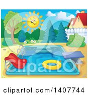 Clipart Of A Swimming Pool With A Ladder Slide Diving Board And Inner Tube In A Yard Royalty Free Vector Illustration