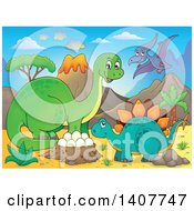Clipart Of A Happy Green Apatosaurus Dinosaur Stegosaur And Pterodactyl By A Nest In A Volcanic Landscape Royalty Free Vector Illustration by visekart