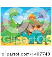 Happy Green Apatosaurus Dinosaur Stegosaur And Pterodactyl In A Volcanic Landscape