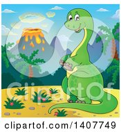 Clipart Of A Happy Green Apatosaurus Dinosaur In A Volcanic Landscape Royalty Free Vector Illustration