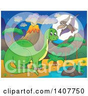 Happy Green Apatosaurus Dinosaur And Pterodactyl In A Volcanic Landscape At Night