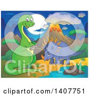 Clipart Of A Happy Green Apatosaurus Dinosaur And Triceratops In A Volcanic Landscape At Night Royalty Free Vector Illustration by visekart