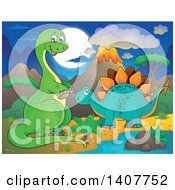 Happy Green Apatosaurus Dinosaur And Stegosaur In A Volcanic Landscape At Night