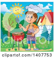 Clipart Of A Happy Caucasian Boy Cooking On A Bbq Grill In A Yard Royalty Free Vector Illustration