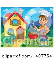 Clipart Of A Happy Caucasian Boy Cooking On A Bbq Grill By His House Royalty Free Vector Illustration