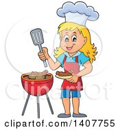 Clipart Of A Happy Caucasian Girl Cooking On A Bbq Grill Royalty Free Vector Illustration