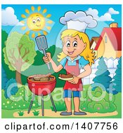 Clipart Of A Happy Caucasian Girl Cooking On A Bbq Grill In A Yard Royalty Free Vector Illustration