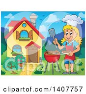 Clipart Of A Happy Caucasian Girl Cooking On A Bbq Grill By Her House Royalty Free Vector Illustration