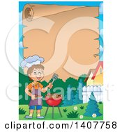 Clipart Of A Scroll Border Of A Happy Caucasian Boy Cooking On A Bbq Grill Royalty Free Vector Illustration