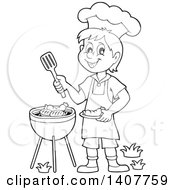 Clipart Of A Black And White Lineart Happy Boy Cooking On A Bbq Grill Royalty Free Vector Illustration