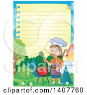 Ruled Paper Border Of A Happy Caucasian Boy Cooking On A Bbq Grill