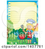 Clipart Of A Ruled Paper Border Of A Happy Caucasian Girl Cooking On A Bbq Grill Royalty Free Vector Illustration