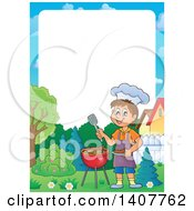 Clipart Of A Border Of A Happy Caucasian Boy Cooking On A Bbq Grill Royalty Free Vector Illustration