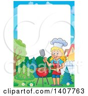 Clipart Of A Border Of A Happy Caucasian Girl Cooking On A Bbq Grill Royalty Free Vector Illustration