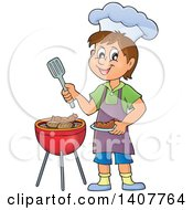 Clipart Of A Happy Caucasian Boy Cooking On A Bbq Grill Royalty Free Vector Illustration