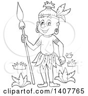 Clipart Of A Black And White Lineart Happy Aborigine Man Holding A Spear Royalty Free Vector Illustration by visekart