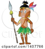 Clipart Of A Happy Aborigine Man Holding A Spear Royalty Free Vector Illustration