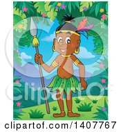Clipart Of A Happy Aborigine Man Holding A Spear In A Jungle Royalty Free Vector Illustration by visekart