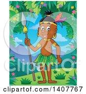 Happy Aborigine Man Holding A Spear In A Jungle