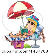 Relaxed Blond Caucasian Girl Reading A Book And Sun Bathing