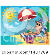 Clipart Of A Relaxed Brunette Caucasian Girl Reading A Book And Sun Bathing On A Beach Royalty Free Vector Illustration by visekart