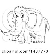 Clipart Of A Black And White Lineart Happy Woolly Mammoth Royalty Free Vector Illustration by visekart