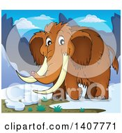 Clipart Of A Happy Woolly Mammoth Royalty Free Vector Illustration by visekart