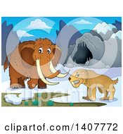 Clipart Of A Saber Tooth Cat And Woolly Mammoth By A Cave Royalty Free Vector Illustration by visekart