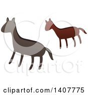 Clipart Of A Prehistoric Horse Caveman Petroglyph Royalty Free Vector Illustration by visekart
