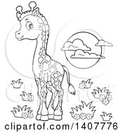 Poster, Art Print Of Black And White Lineart Cute Baby Giraffe And Sun
