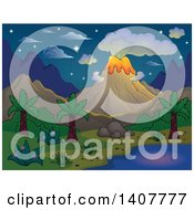 Clipart Of A Prehistoric Landscape Of A Volcano Erupting And A Tropical Shore On A Starry Night Royalty Free Vector Illustration