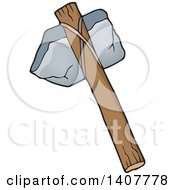 Clipart Of A Caveman Stone Hammer Royalty Free Vector Illustration by visekart
