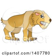 Clipart Of A Snarling Saber Toothed Cat Royalty Free Vector Illustration by visekart