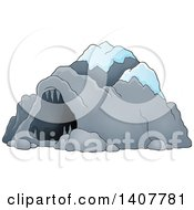 Clipart Of A Cave With Snow Royalty Free Vector Illustration by visekart