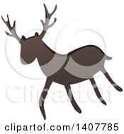 Clipart Of A Prehistoric Deer Caveman Petroglyph Royalty Free Vector Illustration by visekart