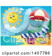 Clipart Of A Happy Sun Shining Over A Beach Chaise Lounge Umbrella And Coast Royalty Free Vector Illustration