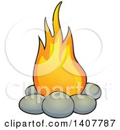 Clipart Of A Caveman Fire Royalty Free Vector Illustration by visekart