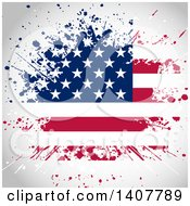 Clipart Of A Background Of A Grungy Splatter American Flag Royalty Free Vector Illustration