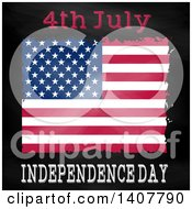 Clipart Of A 4th July Independence Day Design With A Grungy American Flag On Black Royalty Free Vector Illustration