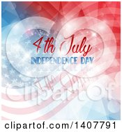 Clipart Of A 4th July Independence Day Design With Text Over Flares And Flags Royalty Free Vector Illustration