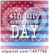 Clipart Of A 4th July Independence Day Design With Text Over A Flag And Ripples Royalty Free Vector Illustration