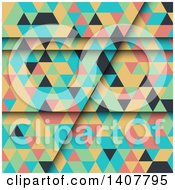 Clipart Of A Colorful Geometric Backgroundo F Pyramids Or Triangles Royalty Free Vector Illustration