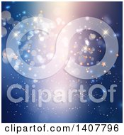 Clipart Of A Background Of Lights Flares And Stars On Blue Royalty Free Vector Illustration
