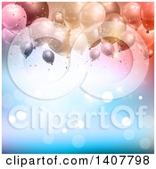 Background Of Confetti And Party Balloons Over Blue With Flares