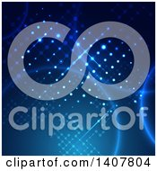 Clipart Of A Blue Technology Background With A Lattice Design And Flares Royalty Free Vector Illustration