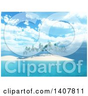Clipart Of A 3d Island With Palm Trees Under A Blue Cloudy Sky Royalty Free Illustration