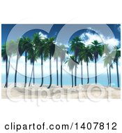Clipart Of A 3d Row Of Palm Trees In White Sand Against Sky Royalty Free Illustration