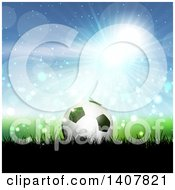 Clipart Of A 3d Soccer Ball On Grass Against Blue Sky And Flares Royalty Free Vector Illustration by KJ Pargeter